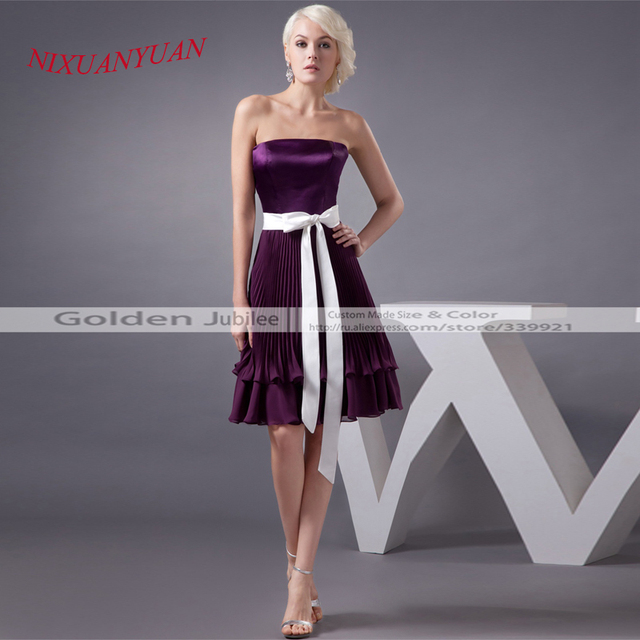 Attractive Custom Mde Purple Cocktail Dress Knee Length Dress Party Satin Sashes  Strapless Bridal Gowns A Line Images