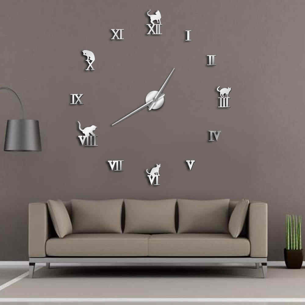 3D Large Wall Clock DIY Large Modern Frameless Home Decor Cat Big Clock Mirror For Bedroom Living Room Kittens Kitty Wall Decor