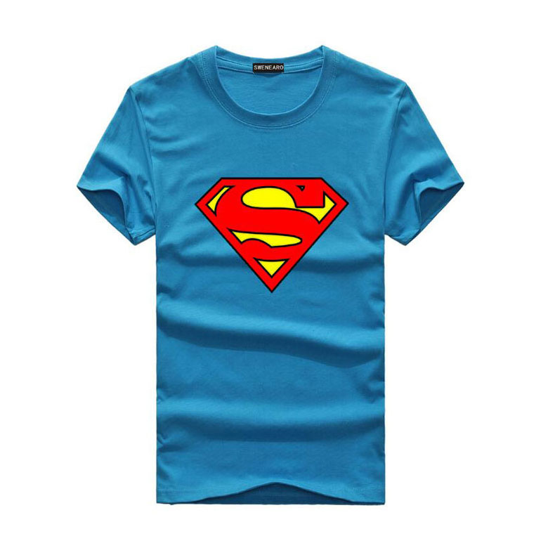 Men's T-Shirts Casual Cotton Tee Shirt Mans Superman Print O-Neck Male Tshirts Short Sleeve Man T shirt Summer Men T-shirt