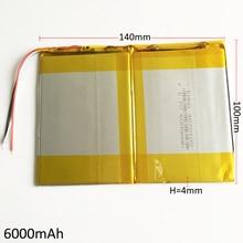Recarregável de Polímero Lítio para Gps Banco do Poder 3.7 V 6000 Mah 40140100 Células Li-po Bateria de Psp Dvd Pad Diy E-book Tablet PC