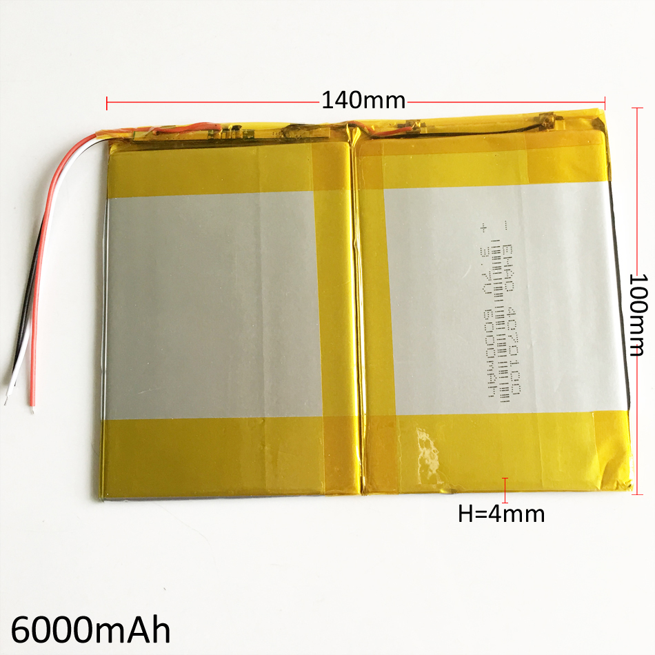 3.7V 6000mAh 40140100 Lithium Polymer Li-Po Rechargeable Battery cells For GPS PSP DVD Power bank PAD DIY E-Book Tablet PC taipower onda 8 inch 9 inch tablet pc battery 3 7v 6000mah 3 wire 2 wire lithium battery