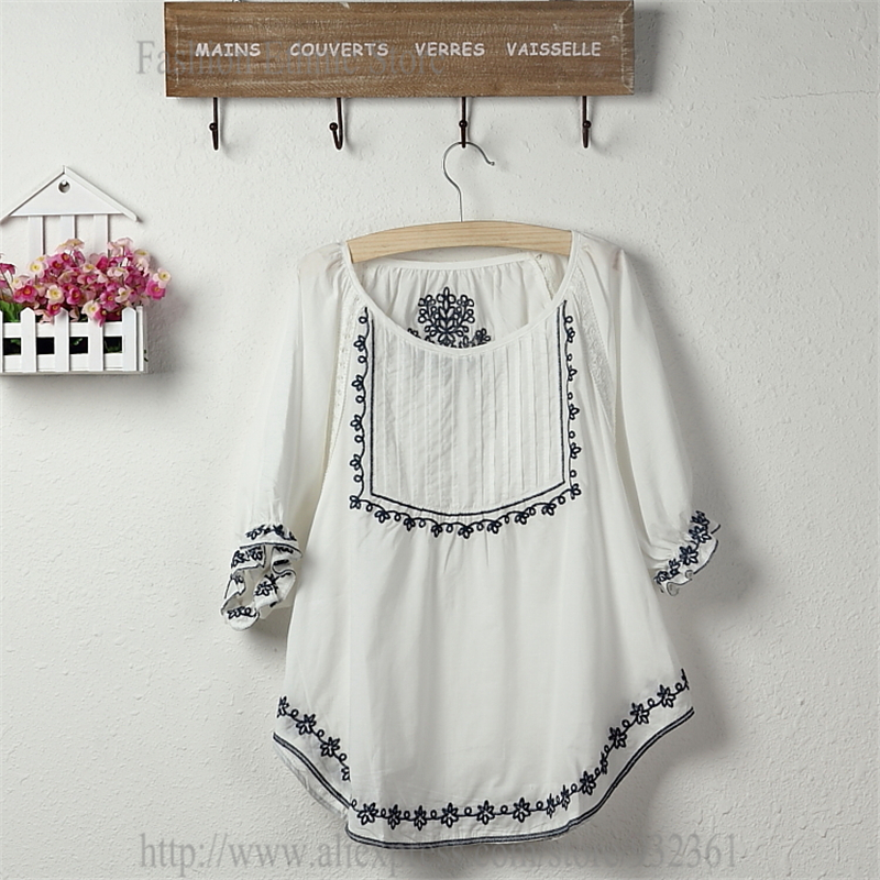 Vintage Mexican Floral Embroidery 100 Cotton Women Blouses Summer