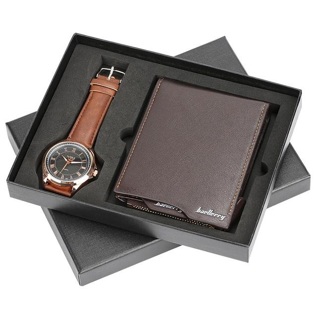 High-capacity Soft Wallet Elegant Quartz Wrist Watch Business Roman Number Leather for Boyfriend Watches Men Christmas Gift Set