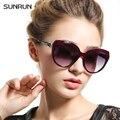 SUNRUN Espelho óculos de Sol Do Olho de Gato Óculos De Sol Das Mulheres de Verão de Grandes Dimensões T6141 Projetistas óculos de Sol Óculo de sol feminino das Mulheres