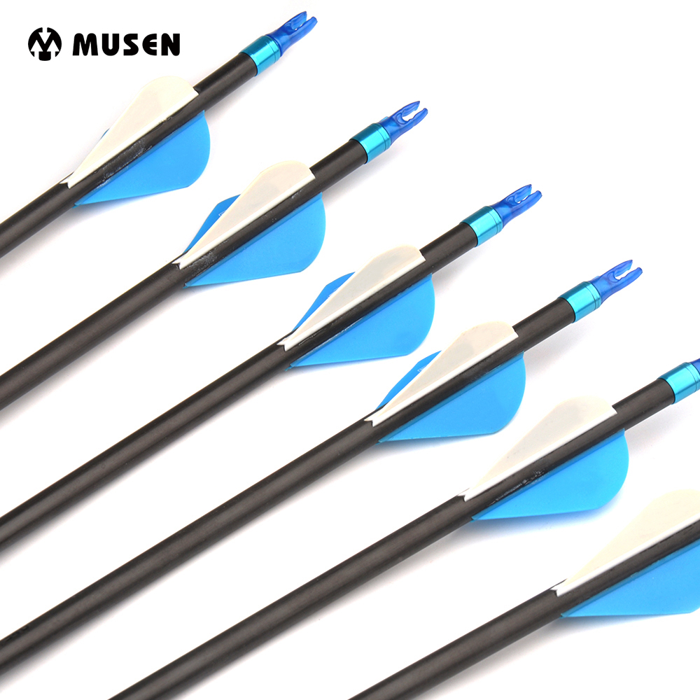 Spine 500 6//12//24Pcs Archery Carbon Arrows 32/'/' Hunting Compound Recurve Bow