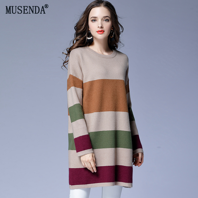 MUSENDA grande taille femmes rayé contraste couleur lâche Long chandail tricoté hauts hiver femme dame pulls décontractés chandail chemise