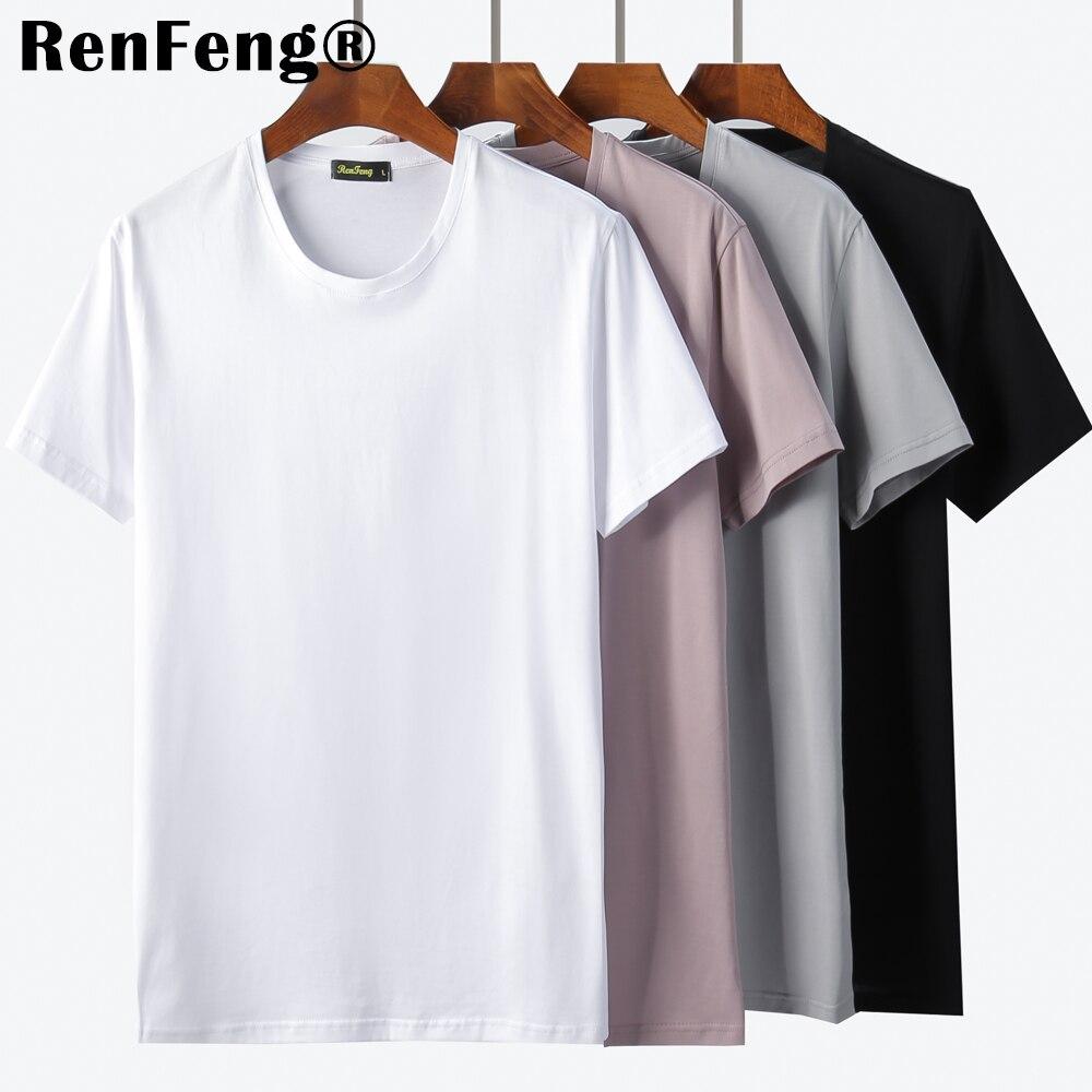 New Blank black Mercerized Cotton Short Sleeve Men's T-Shirt Underwear Round Collar Ice Silk Cool T-Shirt Slim Blusa Tops Summer (1)