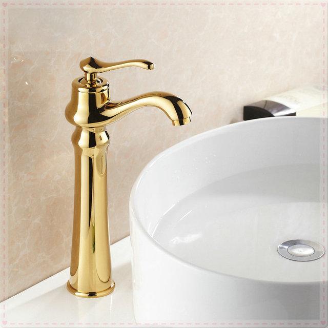 Finitura oro bagno lavandino da appoggio rubinetto monocomando per ...