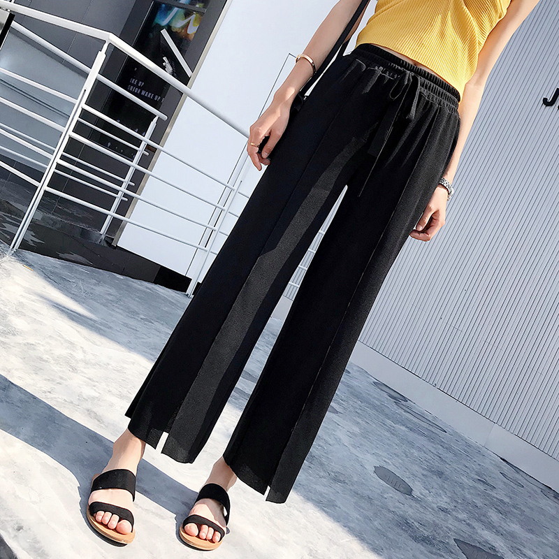 Spring and summer new ice silk knit   wide     leg     pants   female high waist pleated straight nine   pants   high elastic women's trousers