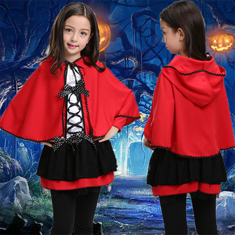 Fashion Child Devil Cosplay Vestido Cloth Red Cloak Costume Carnaval Performance Dress Kids Halloween Costumes Child Dresses devil may cry 4 dante cosplay wig halloween party cosplay wigs free shipping