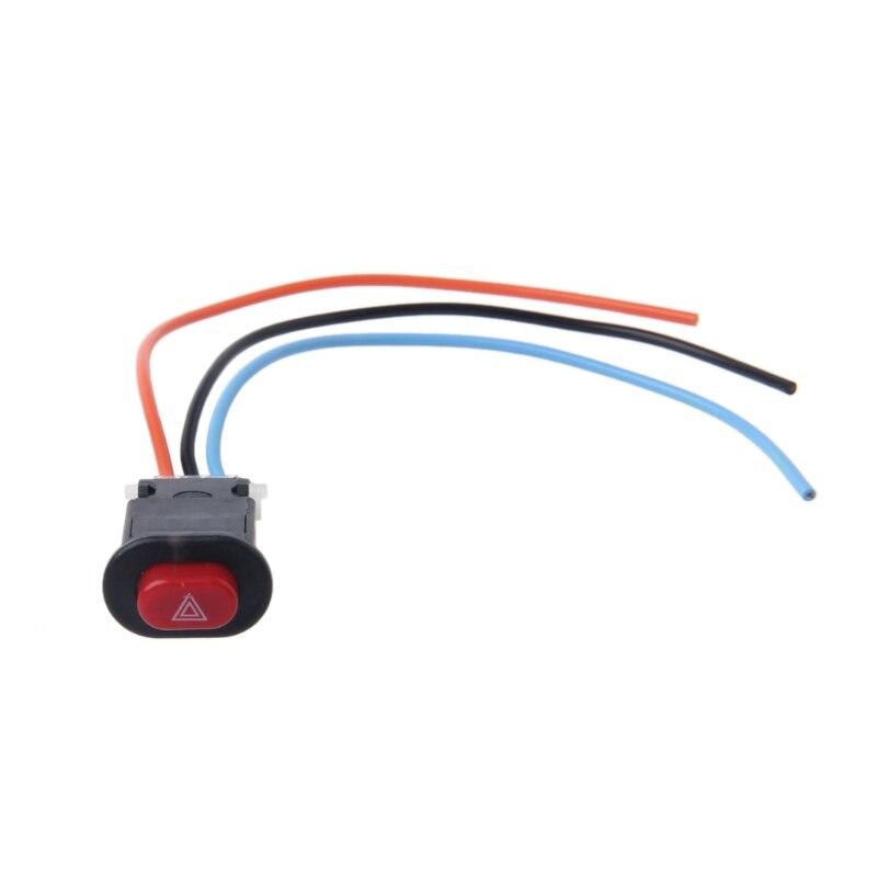 Interrupteur de voyant de danger de moto Double Signal d'avertissement clignotant d'urgence avec serrure à 3 fils