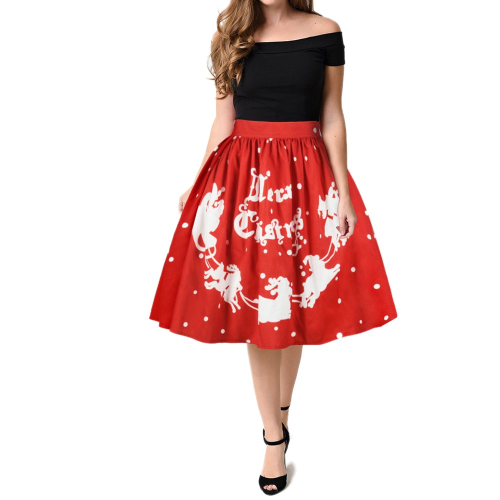 JAYCOSIN Lolita Style Women Casual Christmas Santa Flare Elastic High Waist Cosplay Ball Gown Mini Skirt Polyester z0914#
