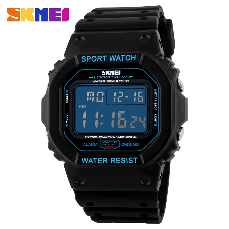 Digital Retro Sports Watch LED Light Stopwatch 1