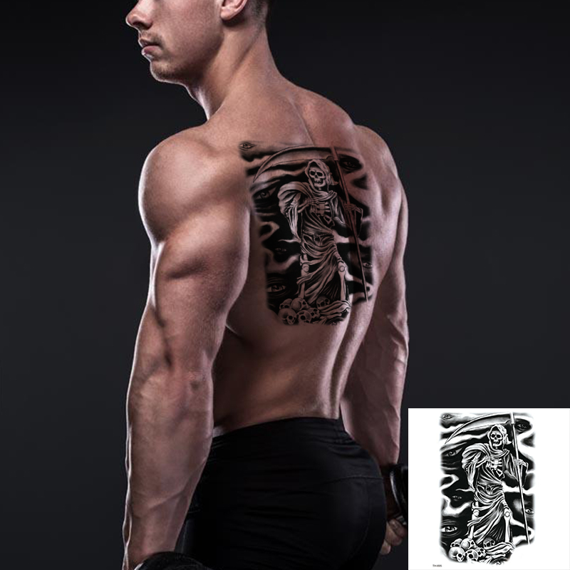 Us 1 15 Sexy Body Art Beauty Makeup Black Sexy Dangerous Skull Tattoo 3d Waterproof Temporary Tattoo Stickers In Temporary Tattoos From Beauty