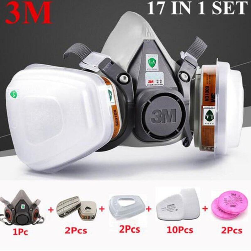 3 M 6200 Meia Face Máscara de Gás Respirador Pintura de Pulverização 17 Em 1 Terno Máscara De Poeira do Filtro de Segurança do Trabalho