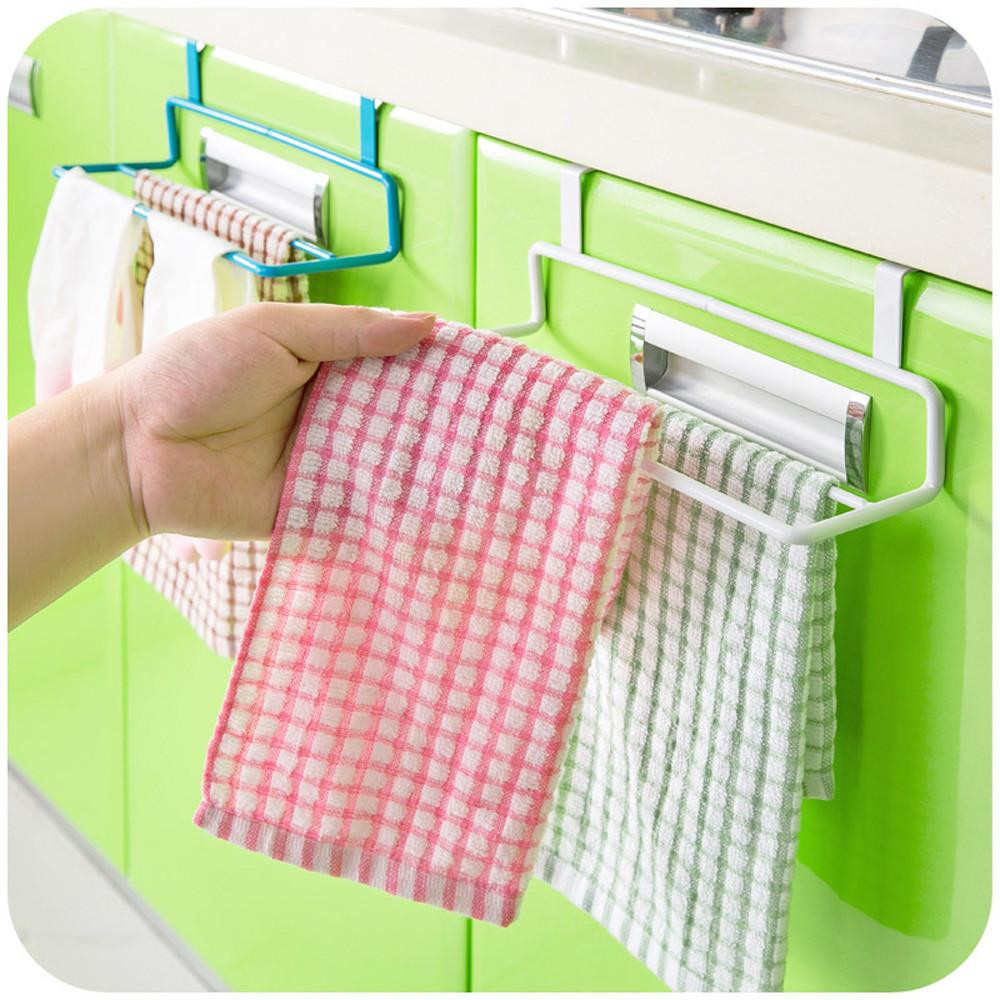 Kitchen Organizer Towel Rack Hanging Holder Bathroom Cabinet Cupboard Hanger Shelf For Kitchen Supplies Accessories metal A30621