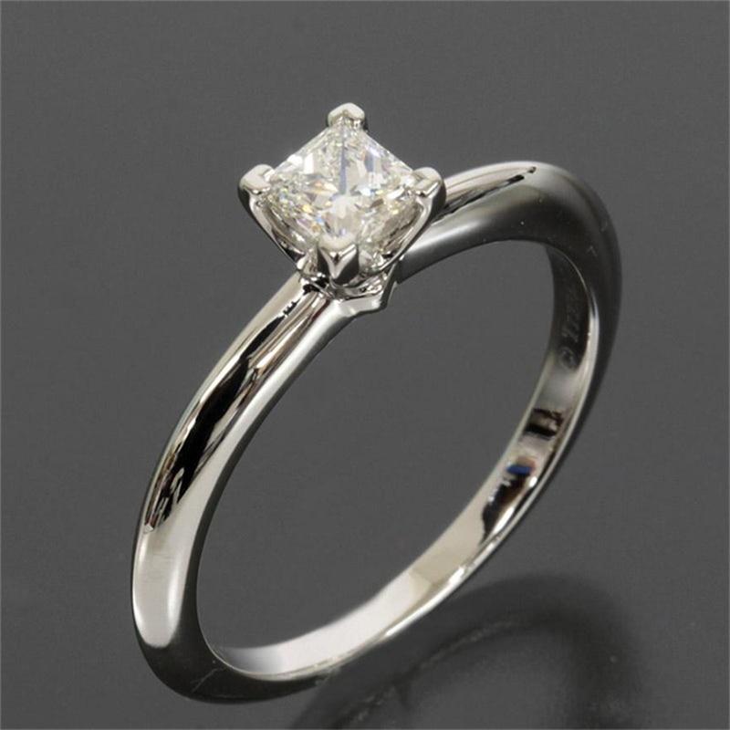 Prong Set Diamond 0.3ct Princess Cut Natural Diamond Classic Solitaire Wedding Ring 14k White Gold Engagement Ring