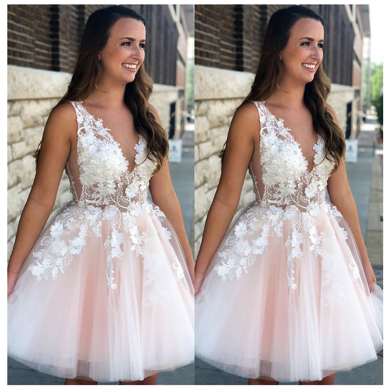 2019 Lorie New Fashion Sexy Short   Prom     Dress   V neck 3D Flowers Evening   Dresses   A Line Robe Cocktail   Dress   Vestidos Coctel