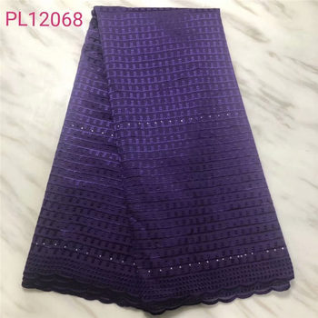 African Swiss Lace Fabric 2019 High Quality Swiss Voile Lace In Switzerland Pruple Cotton African Dresses For Women Dress