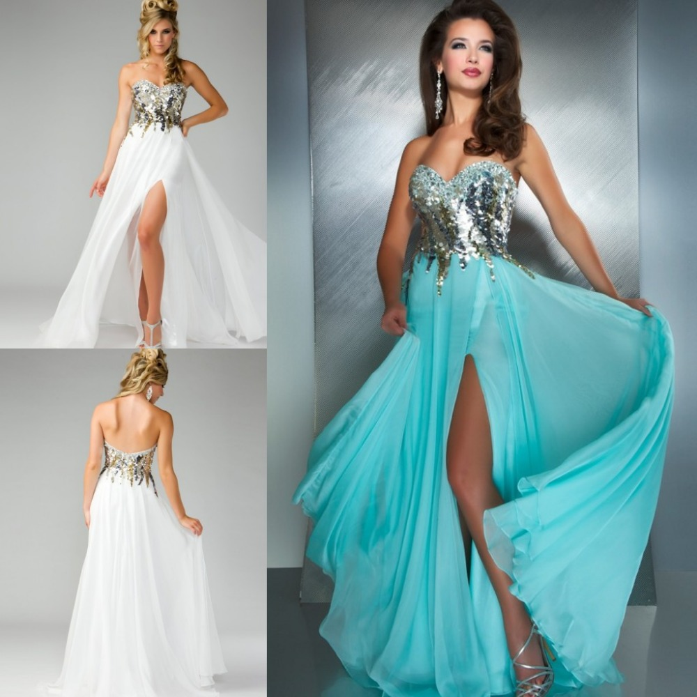 Blue and White Prom Dress