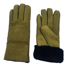 Sheep skin sheepskin New Cool Womens Winter Genuine Leather Black Sheepskin Shearling Fur Warm Gloves NM07