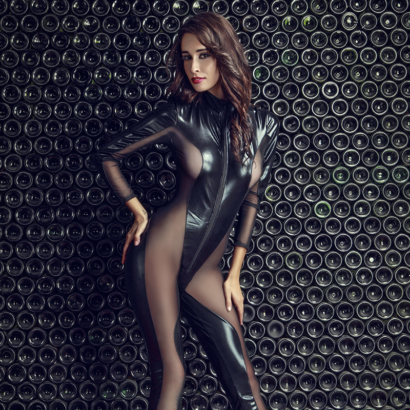 Patent Leather Zipper Latex Catsuit Jumpsuit Sexy Transparent Lace Lingerie For Women Erotic Costumes Spandex Bodysuit Clubwear