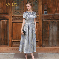 VOA 2017 Summer Silver Grey Silk Women Maxi Dress Luxury Embroidery Elegant Vintage Big Pendulum Ladies