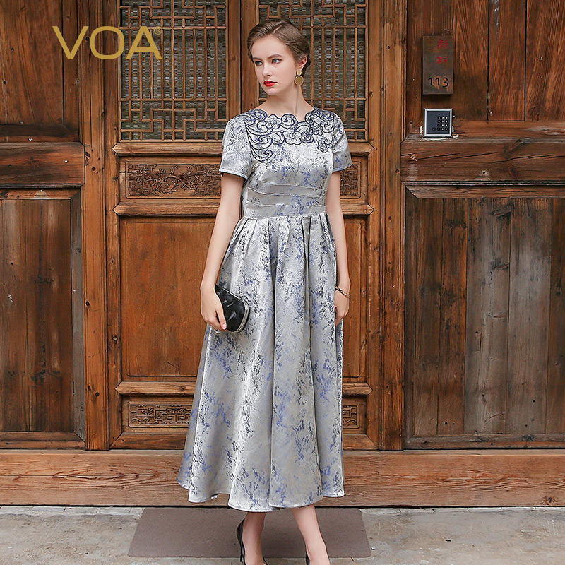 Silk Gowns For Women: VOA Silver Grey Silk Maxi Dress Women Luxury Embroidery