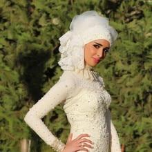 muslim hijab wedding dress long sleeve Mermaid Sweetheart Pearls zipper back vestido de noiva louisvuigon 2016 Bridal Gowns