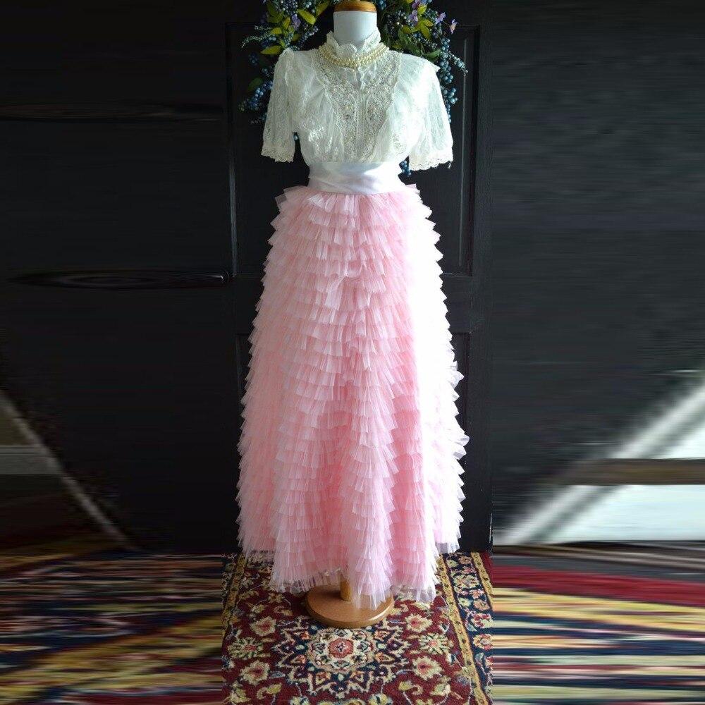 Amazing Tiered Layered Ruffles Skirts Women Wide Zipper Waistline A Line Floor Length Maxi Skirt Pink Tulle Long Skirts Women amazing women