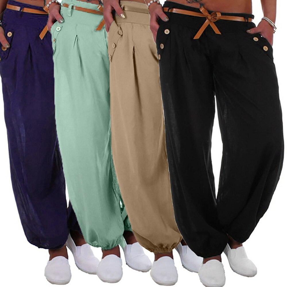 Women Cargo Long Streetwear Elastic High Waist Pocket Pantalon Femme Buckle Belt Harajuku Casual
