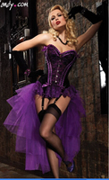 hot selling New Sexy purple/ red Long Corset Dress Burlesque Women Corselet costume Plus size