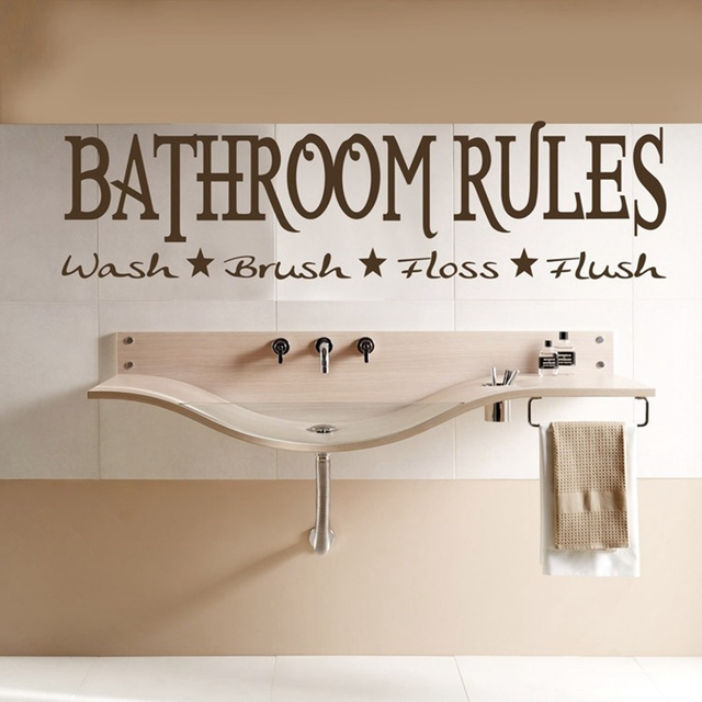 Free Shipping:24*90cm Hot Selling Bathroom RULES English Vinyl Wall Decals /Removable