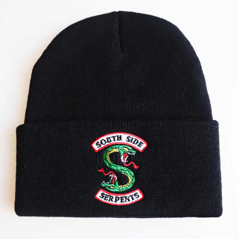 Adult Riverdale South Side Serpents Cosplay Hats Beanie Cap Winter Knitted Embroidery Hat Warm hooded hip hop