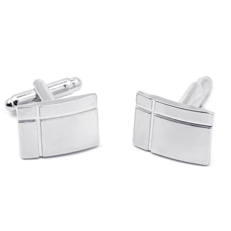 Fashion Cufflinks For Man Silver Plated Rectangle Cross Engraved French Shirt Groom Wedding Cuff Links Mens Jewelry Gift
