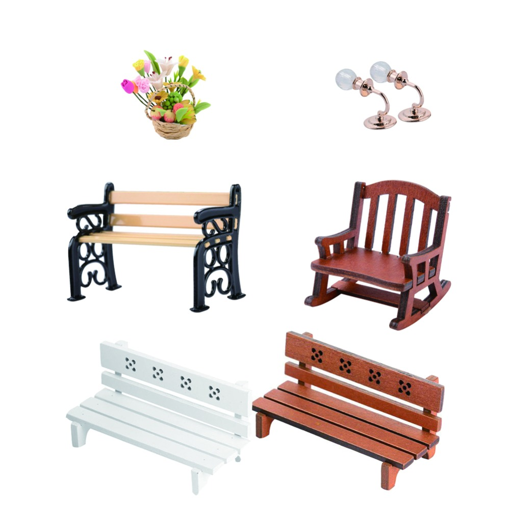 1:12 Doll Toy Accessory Garden Village Patio Park Bench Dollhouse Miniature Furniture Chair Rocking Chair Wall Lamp Fruit Basket