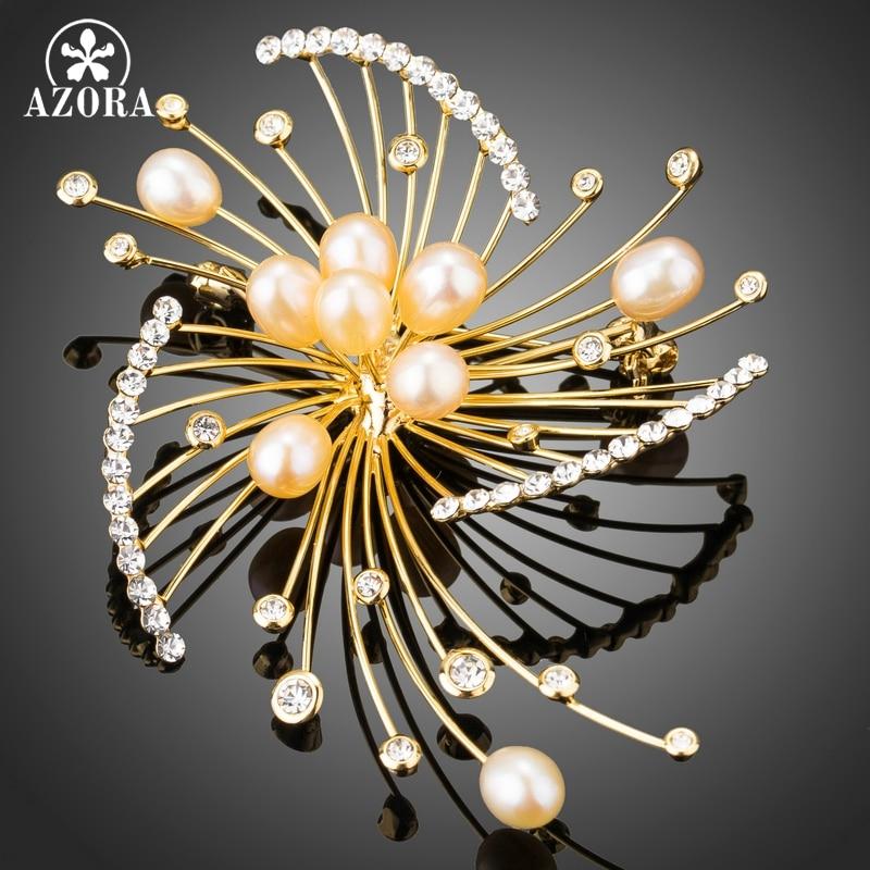 Prix pour AZORA Feux D'artifice Conception Bouton En Forme de Perle D'imitation avec Minuscule Cristal Autrichien Or Couleur Écharpe Broches Broches Bijoux TP0046