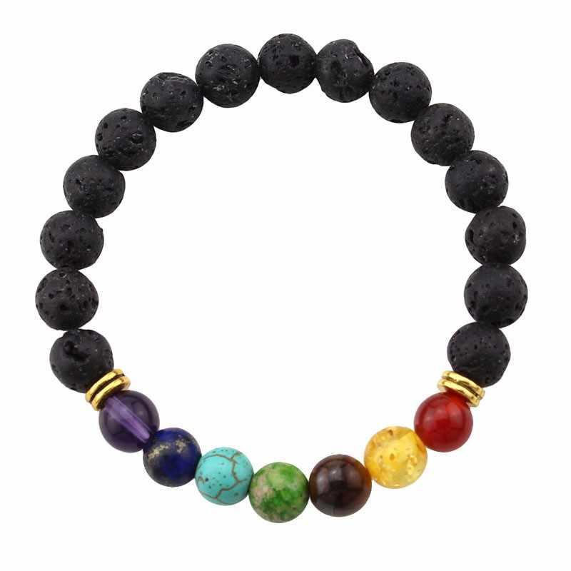 2017 Hitam Lava Batu Bead Buddha Gelang Untuk Wanita dan Pria Perhiasan Batu Alam skull Gelang & Bangles Pulseras