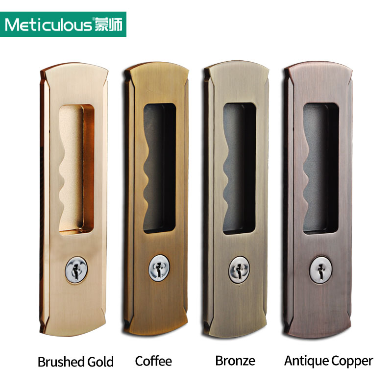 Meticulous Mortice sliding door lock with keys interior room hanging sliding door embedded lock hook invisible move gate lockset