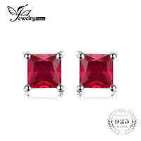 Square 0 86ct Pigeon Blood Ruby Earrings Stud Solid 925 Sterling Silver Women Classic Fabulous Hot