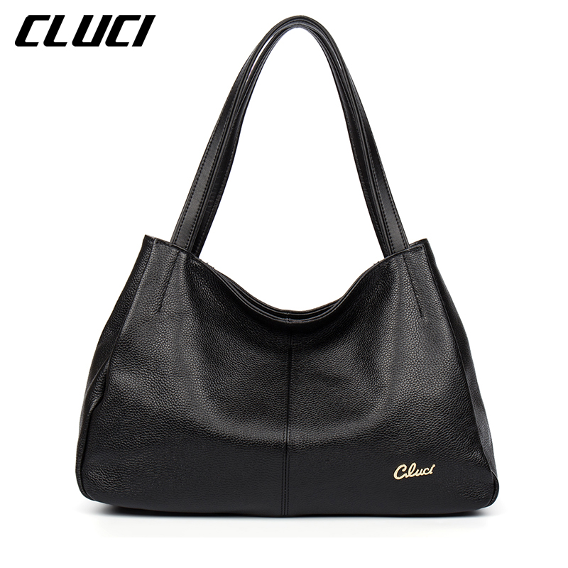 CLUCI Luxury Women's Handbags Genuine Leather Fashion Black Red Blue Purple Hobo Soft Casual Totes Top-handle Shoulder Bags cluci women genuine leather luxury handbags vintage zipper black red gold purple blue shoulder bag top handle bags neverfull