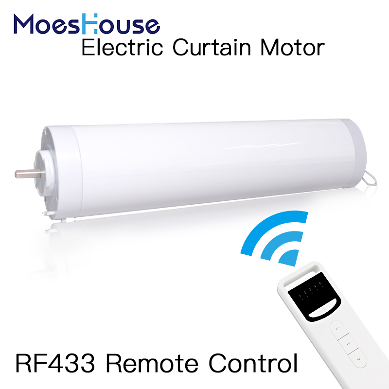 5 Wires Automatic Electric Curtain Motor Open Closed Windows Motorized Motor 433MHZ Remote Control For Smart Home