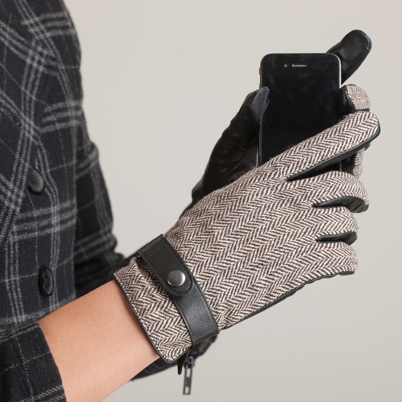Fashion Winter <font><b>Men</b></font> <font><b>Gloves</b></font> Hand Back Wool Cloth Button Wrist Male Genuine Leather Male Winter Warm <font><b>Glove</b></font> Free Shipping