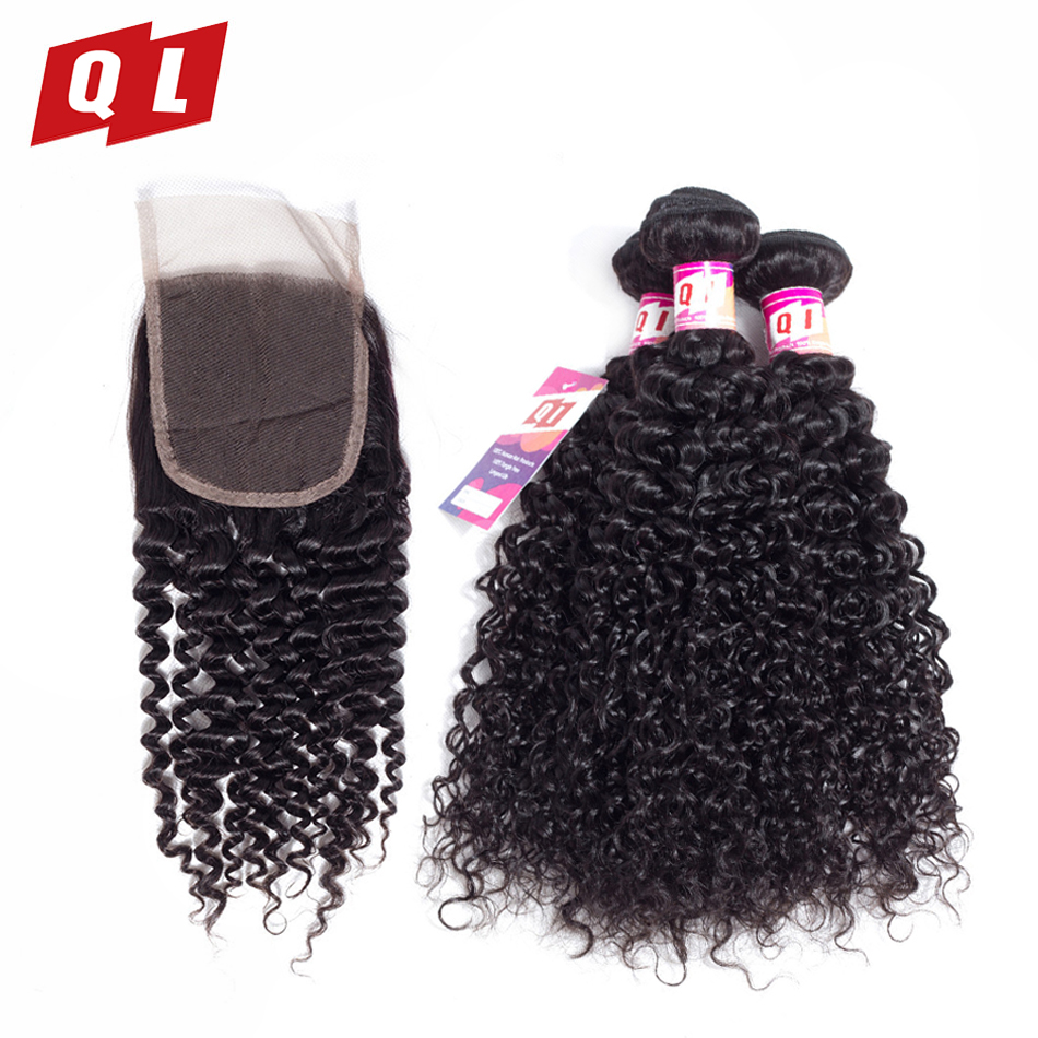 QLOVE HAIR 3 Bundles With 4 4 Lace Closure Malaysia Kinky Curly Hair 100 Non Remy