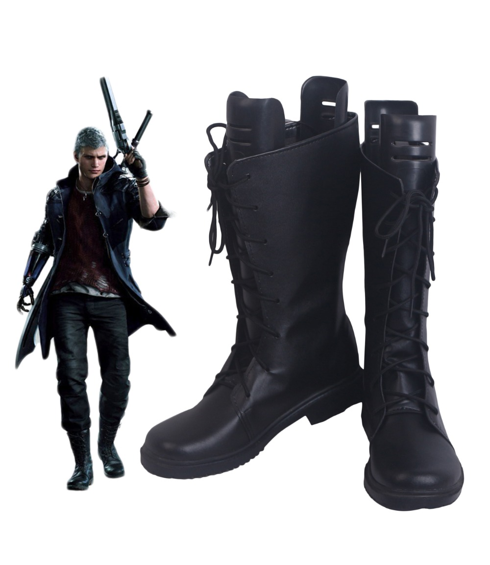 Nero Cosplay Boots Black Shoes Custom Made Any Size for Unisex