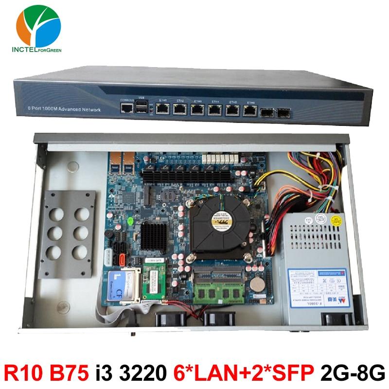 1U Rack Ears Case B75 I3 CPU Firewall Hardware with 6 * 82574L 2 Intel I350 SFP Gigabit 2G RAM 8G SSD