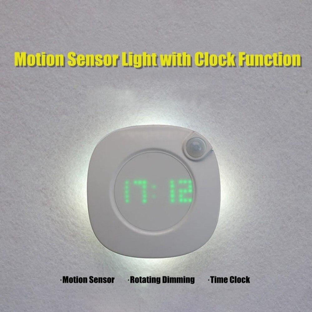 Image 4 - LED Night Light Human Body Infrared Sensor Light Night Lamp Battery Powered Time Clock Adjustable Lighting for Toilet Wardrobe-in LED Night Lights from Lights & Lighting