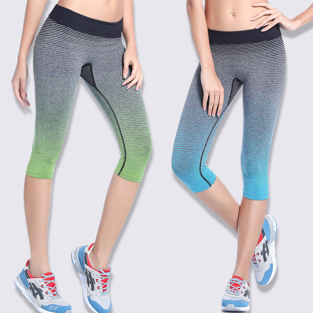 2016 Women yoga Pants Running Compression Tights Leggings Female Elastic  Sport Fitness Gym Ladies running Trousers 3 4 Length cacafbd78963a