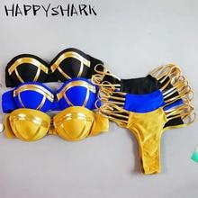HAPPYSHARK 2019 New Shiny Bandeau Bikinis Set Women Padded Brazilian Biquinis Thong Bikini Push 2 Pcs Swimwear Maillot De Bain недорого