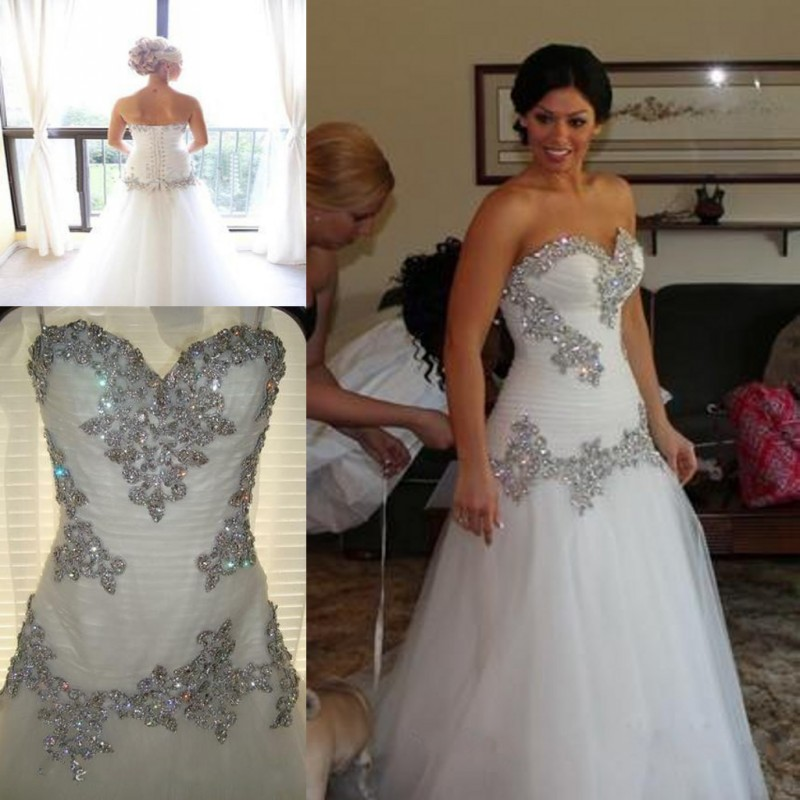 Glitter Crystal Wedding Dresses Mermaid Trumpet 2016 Pnina